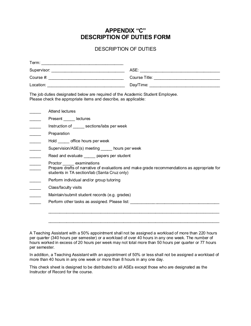 Descriptions of Duties Form